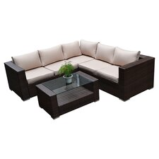 Kessler 4 Piece Seating Group in Black with Beige Cushions