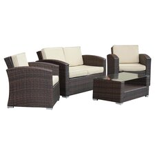 Bahia 4 Piece Seating Group in Dark Brown with Beige Cushions