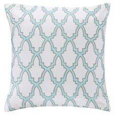 Embroidered Throw Pillow in White