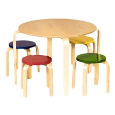 Kid's Nordic 5 Piece Table & Stool Set