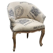 Hessian Arm Chair in White & Gold