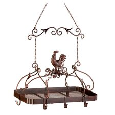 Rooster Pot Rack in Rust Bronze