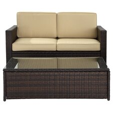 Palm Harbor 2 Piece Seating Group in Brown with Beige Cushions