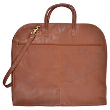 Personalized Turner Leather Garment Bag in Tan