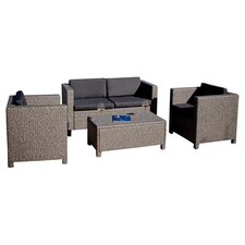 Taunton 4 Piece Seating Group in Brown with Black Cushions