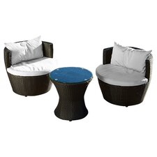 Cozenza 3 Piece Seating Group in Brown with White Cushions