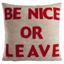 Be Nice or Leave Throw Pillow in Oatmeal & Red