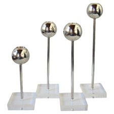 Carmen 4 Piece Candle Holder Set in Steel