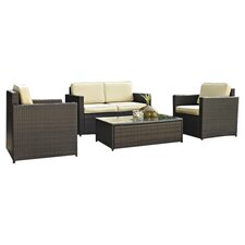 Palm Harbor 4 Piece Seating Group in Brown with Khaki Cushions