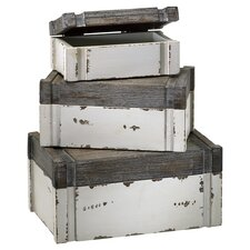3 Piece Alder Storage Box Set in Distressed White & Gray
