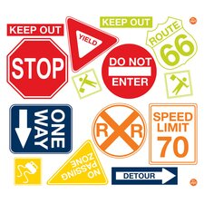 Art Kit  14 Piece Road Signs Wall Decal