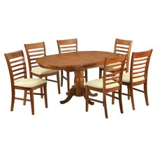 Portland 7 Piece Dining Set in Saddle Brown