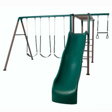 Earthtone Monkey Bar Adventure Swing Set
