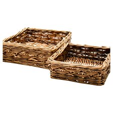 Rio Willow 2 Piece Nesting Basket Set in Brown