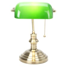 Chronos Table Lamp in Antique Brass & Green
