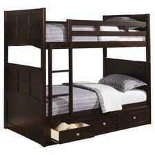 Romeo Twin Over Twin Storage Bunk Bed in Rich Cappuccino