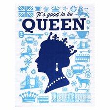Good Queen Tea Towel in Navy & Light Blue