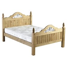 Corona Scroll Double Bed Frame in Pine
