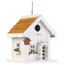 Coastal Cottage Hanging Birdhouse in White