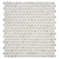 Posh Penny Porcelain Mosaic Tile Sheet in Ash