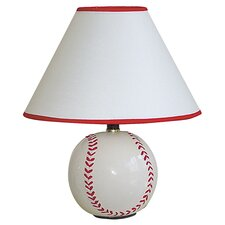 Baseball Table Lamp in White & Red