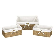 Seagrass 3 Piece Utility Basket Set in Beige