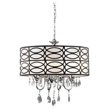 4 Light Crystal Chandelier in Chrome