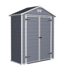 Manor Storage Shed in Gray & White