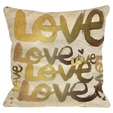 Oliver Gal Four Letter Word Throw Pillow in Gold