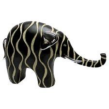 Contemporary Elephant Figurine in Black & Cream