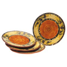 French Olives Dinner Plate in Yellow & Rust