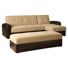 Logan Convertible Sectional & Ottoman in Beige
