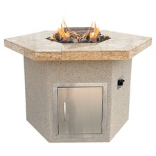 Hexagon Gas Fire Pit in Taupe