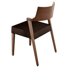 Lirica Leather Side Chair in Walnut