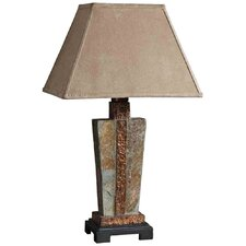 Slate Table Lamp in Hammered Copper