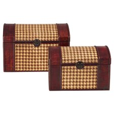 Houndstooth Woven Trunk in Brown