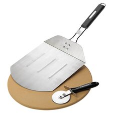 Grilled Pizza 3 Piece Set in Stainless Steel