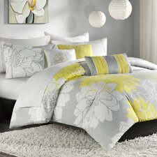 Lola 6 Piece Duvet Set in Yellow & Gray