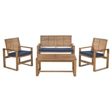 Manning 4 Piece Seating Group in Brown with Navy Cushions