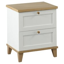 Boston 2 Drawer Bedside Table in White