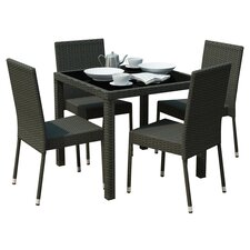 Huntington 5 Piece Dining Set in Black