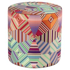 Girandole Noceda Pouf Ottoman in Orange & Green