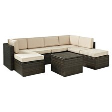 Island 8 Piece Seating Group in Brown with Beige Cushions