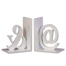 Wood @& Bookend in Taupe Gray (Set of 2)