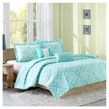 Laurent Full / Queen Comforter Set in Teal & White