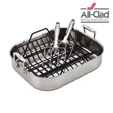 Stainless Steel Large Roasting Pan with Rack and Turkey Forks
