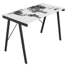 World Map Writing Desk in White