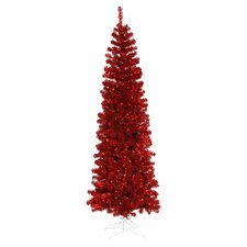 Pencil 6.5' Lighted Red Christmas Tree