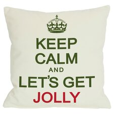 Holiday Keep Calm & Let's Get Jolly Throw Pillow in White & Green