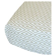 Diamond Fitted Crib Sheet in Sandy Grey & White